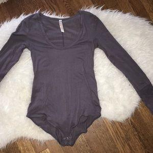 Free people Grey Long sleeved bodysuit